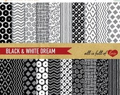 80% off Digital Paper BLACK and WHITE Patterns Printable Cardstock Paper Pack Hand draw Instant Download 00