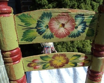 Wooden doll chair/painted as they would have in the Old Country/ woven seat/ roughly hewn and chppy paint make it beautiful !