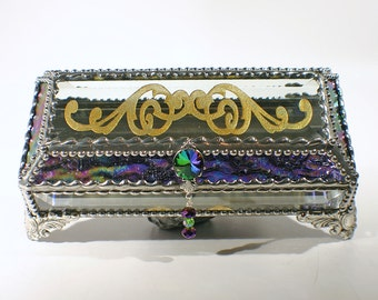 Eye glass scroll Carved Glass Jewelry Box -  Faberge Style