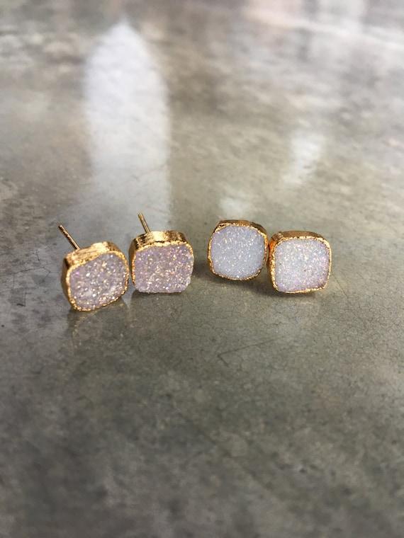 Druzy Quartz Earrings, wedding jewelry, bridesmaid jewelry, sister gift, wife gift, anniversary