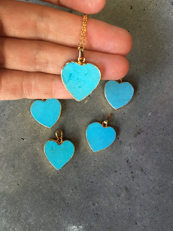 Turquoise Howlite Heart Necklace