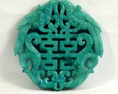 Unique Antique Style Large Carved Blue Jade Pendant Double lucky 66mm Gemstone bead Amulet Talisman Jade Pendant  Double face corved