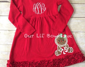 Gingerbread Christmas Shirt - Girls Christmas Dress - Gingerbread Shirt - Christmas Applique Dress - Christmas Applique Shirt - Gingerbread