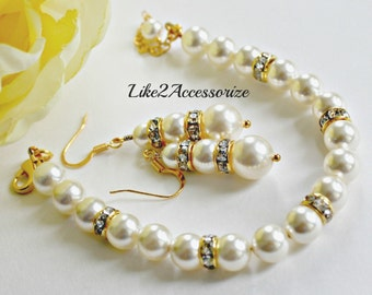 Bridal Bracelet Earring Set. Gold Ivory Pearls Bracelet. Bridesmaid Bracelet. Wedding Pearl Earring. Bridal Jewelry. Bidesmaid Jewelry Set