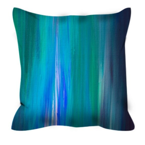 Blue Microsuede Throw Pillows : IRRADIATED BLUE Colorful Art Suede Throw Pillow Cover Abstract