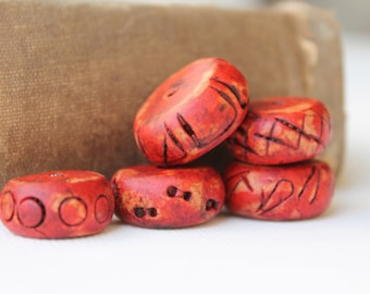 Rustic Polymer Clay Beads - Red Handmade Large Rondelles - Organic Ancient Tribal - Set of 5 - The Bead Hutch (S6)