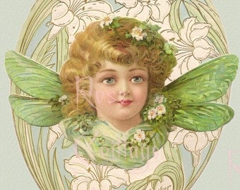 Digital Download Antique Girl in Egg  Die Cut Victorian Scrap Graphic Image now in PNG!