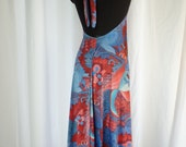 70s vintage HORAZ PARIS parajo halter dress CONVERTIBLE wrap maxi skirt/ blue & red psychedelic Asian dragons :one size