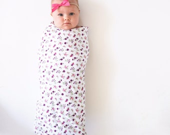 Baby girl floral blanket. Handmade. Swaddle wrap. Soft and stretchy knit fabric. Blanket size: Size 31 by 40 inches. By Lippy brand. Girl.