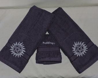 Custom SUPERNATURAL Embroidered Hand Towel set - Anti - Possession tattoo Supernatural Bathroom birthday gift