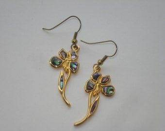 Vintage Duri  Earrings  - Abalone Shell Flower Dangle Earrings - Gold Tone Jewelry