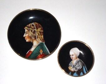 Vintage Black Decorative Plates -  Gold Trim Occupied Japan Decor - S.G.K  Occupied Japan 1940s