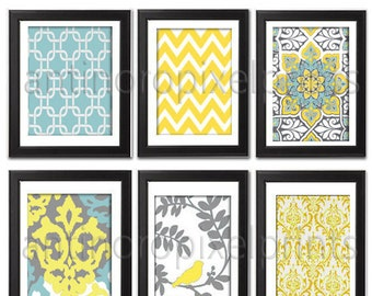 Art Yellow turquoise GreyIkat Bird Damask Modern inspired  Art Prints Collection (Series C) -Set of 6 - 8x10 Prints -   (UNFRAMED)