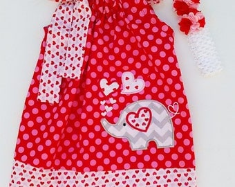 Valentines Elephant Pillowcase Dress With Headband