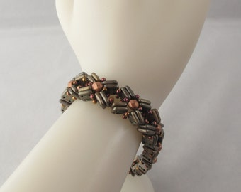 Cross-My-Heart Bracelet in Olive Green and Copper with Toggle Clasp