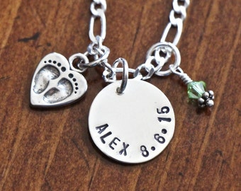 Baby Name Necklace- New Mom Necklace- Baby Feet Heart Charm- Personalized- Sterling Silver- Birth Date- Push Present- Custom