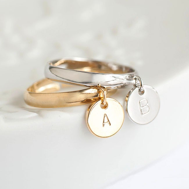 Tiny Initial Letter Round Disc Dangle Charm Ring Gold