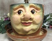 PLANTER - Wheel thrown, hand altered and sculpted ceramic planter. Just a friendly face to show off your favorite plant.