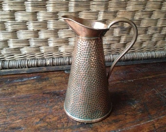 Rustic Hammered Copper Pitcher ~ French Country Farmhouse ~ Arts & Crafts
