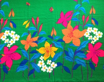 RESERVED Vintage Hawaiian Fabric 60s Border Print Tropical Wild Flower Print Neon Mod Floral By the Yard and Cute Bright Fun