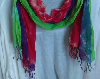 "Hand Tie Dyed Cotton 70"" Scarf in Multi colors"
