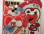 40 Pc Valentines Day Scrap Pack / Vintage Valentine Inspiration Kit Clue Themed Ephemera Scrap Pack for Altered Art, Mixed Media, Collage