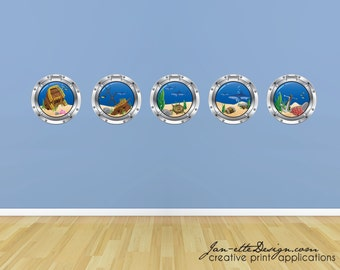 Porthole Wall Sticker, Pirate Shipwreck Porthole Wall Decal