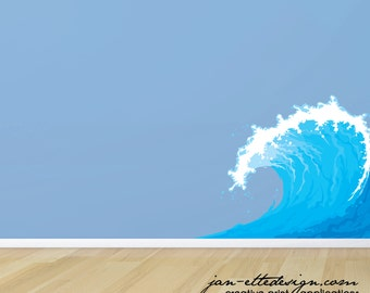 Large Ocean Wave Wall Decal,Removable Wave Wall Sticker
