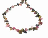 Natural Gemstone Rainbow Tourmaline Slices 14kt Yellow Gold Filled Necklace, Watermelon Tourmaline, Pink Tourmaline Necklace