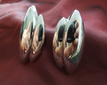 Vintage Post Earrings.  Long, Silver Toned, Simple, Nice Condition
