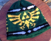 Triforce Beanie Hat: Medium, Hunter Green with Yellow