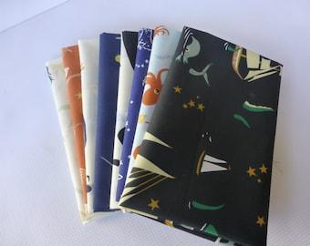Organic Cotton Fabric - 8 Fat Quarter Bundle -  Birch Fabrics, Saltwater