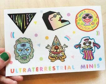 Ultraterrestrial Minis Sticker sheet- 6 stickers, fun cool decorative rad stickers