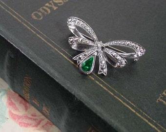 "Avon ""birthstone Bow""  brooch pin May birthstone emerald green 1994 vintage"