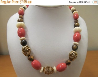 ON SALE MONET Coral Cream and Brown Beaded Necklace Item K # 2716