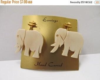 ON SALE Vintage Carved Bone Elephant Earrings Item K # 810