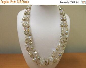 ON SALE Vintage Double Strand Aurora Borealis Crystal Necklace Item K # 1816