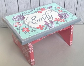 Artisan hand painted custom wooden step stool ~ Coral, aqua, turquoise, grey fuschia flower garden Moda Canyon theme