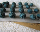 Reserved For Linda Antique Blue-Green Decorative FRENCH Silky Crochet? Passementerie tiny size BUTTONS - 1/4in