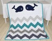Nautical  baby quilt  boy blanket,  whale crib bedding,   baby chevron quilt  navy turquoise white, nautical nursery