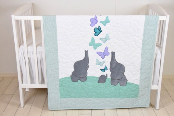 Mint Baby Blanket, Teal Purple Gray Crib Bedding, Elephant Quilt, Safari Nursery
