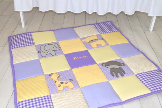 Baby Play Mat, Personalized Playmat, Jungle Baby Mat , Neutral Baby Activity Mat, Safari Baby Playmat, Playroom Decor, Purple and Yellow