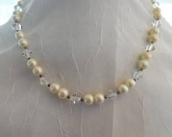 Ivory Pearl and Swarovski Crystal Vintage Necklace