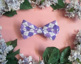 XSmall Dog Bow Tie  Green spots or, purple argylle