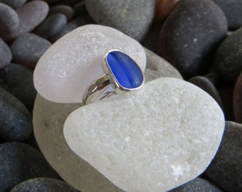 Size 3, Cobalt Blue sea glass ring, sterling silver, Midi ring