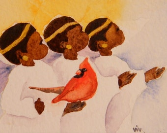 Angel Choir print, watercolor print,  Northern Cardinal,  songbird in art,  aceo print,  SantasSongbird