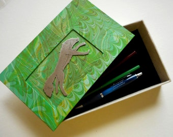 "Decorative hand-made box for your jewelry or heirlooms - Stainless Steel ""Grass Fox"" Jewelry box. Treasures. Gift box."