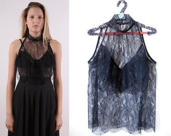 1980's  French Chantilly Lace shirt black