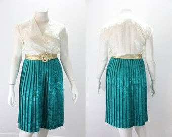 XL Vintage Dress - Two Tone Damask