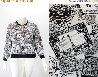 SALE 40% off XL Vintage Top Blouse - Black and White Postage Stamp Print - Novelty